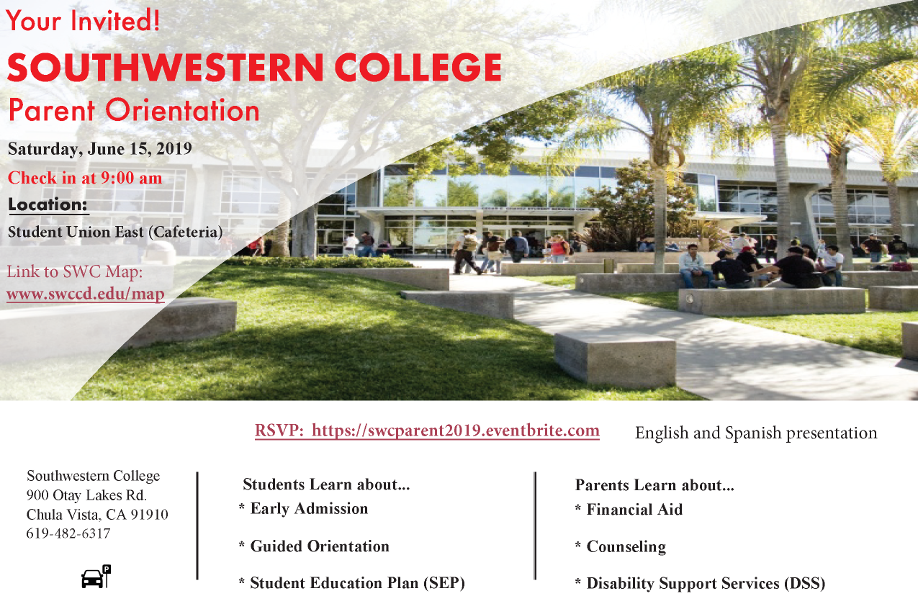 Southwestern College Parent Orientation flyer